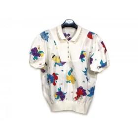 【中古】 レオナール LEONARD 半袖ポロシャツ サイズL レディース アイボリー ブルー マルチ SPORT/花柄