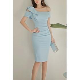 ドレス - Royal Cheaper 【AMANDA】【S.M.L.XL】ワンポイントリボン肩見せドレス