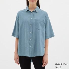(GU)オーバーサイズデニムシャツ(5分袖)JN BLUE S