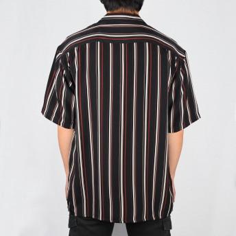シャツ - NEVEREND PTストライプ 半袖 オープンカラーシャツ 9343-600