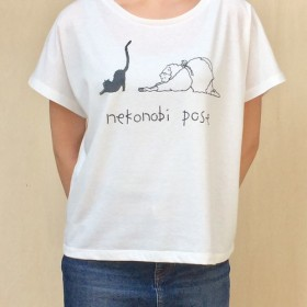 ☆送料無料☆ドルマンスリーブTシャツ「猫伸びのポーズ」