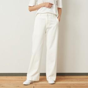 パンツ ワイドパンツ レディース 綿混 綿95% コットン 白色 シンプル おしゃれ  ソフト やわらかい 撥水加工 汚れにくい  ストレッチ S M L LL パールホワイト