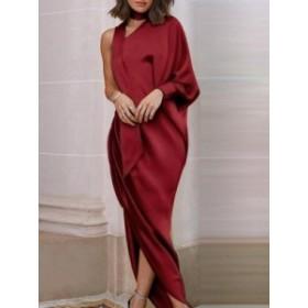 オリジナル 女性ファッション 長袖 エレガント 上品らしい ロングワンピース