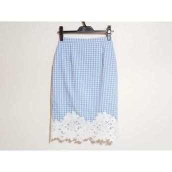 【中古】 マイストラーダ スカート サイズ36 S レディース 美品 ブルー 白 チェック柄/刺繍/花柄
