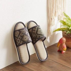 スリッパ  サンダル ルームシューズ おしゃれ おそろいで履ける北欧デザインスリッパ カラー 「ブラック L」