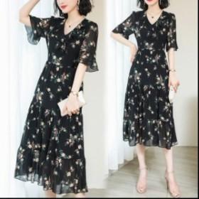 花柄ワンピ 服 シフォンワンピース 袖あり レディース ファッション 女性 大きいサイズ 通勤 シンプル フォーマル オフィス カジュアル 3