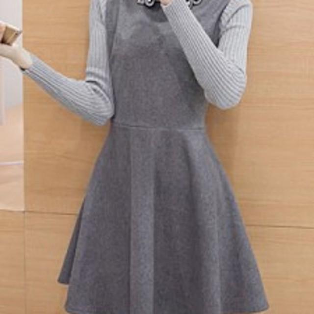 女性ファッション 折り襟 Aライン ニット切り替えし スウィート 長袖 エレガントワンピース