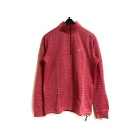 【中古】 パーリーゲイツ 長袖ポロシャツ サイズ1 S レディース ピンク 白 ジップアップ/ボーダー