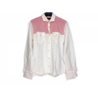 【中古】 エポカ EPOCA 長袖シャツ サイズ46 XL メンズ 白 レッド UOMO