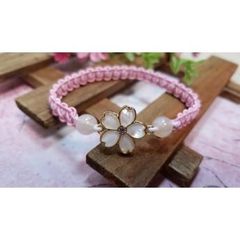 半額SALE☆桜のゴム編みブレスレット(白)