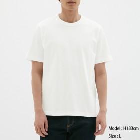 (GU)コットンクルーネックT(半袖) WHITE M
