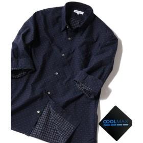 シップス SHIPS JET BLUE: COOLMAX ドビードット 7分袖シャツ メンズ ネイビー SMALL 【SHIPS】