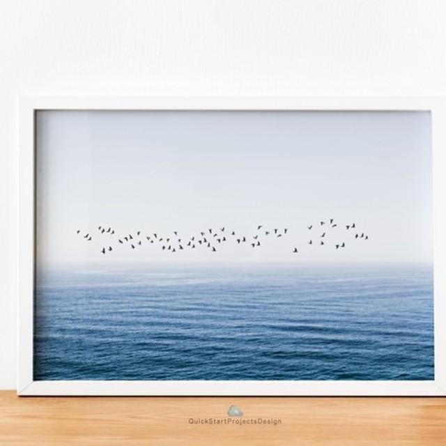 鳥の群れと海と水平線 ポスター ミニマリストモダン 部屋 インテリア シンプル おしゃれ A3サイズ リラックス