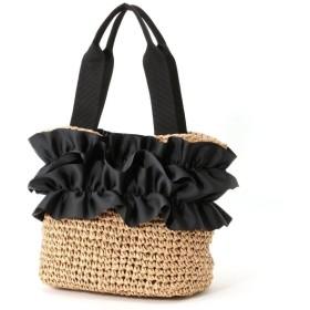 バッグ カバン 鞄 かごバッグ グログランリボン×ペーパーかごバッグ カラー 「ブラウン」