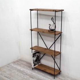アイアン直棚、h120cm, w60cm, d20cm,棚板4段(茶色)