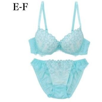 パリシェ palissee 【EFカップ】ボタニカルハート刺繍3/4カップブラ&ショーツ (ミント)【返品不可商品】
