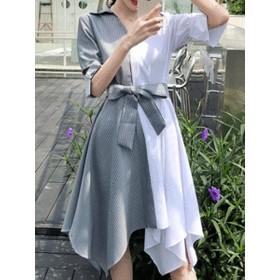 イレギュラー裾 配色 ストライプ柄 折り襟 ウエスト絞り リボン結び シャツワンピース