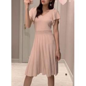 女性のVネック気質透かし彫りニットスリムドレス