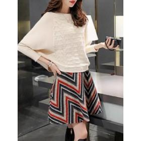女性ファッション 切り替え 2点セット 無地 セーター 配色 ラシャ生地 スカート セットアップ