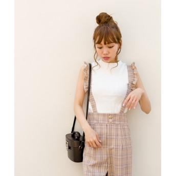 パンツ・ズボン全般 - SpRay 【WEB限定】フリルサスペンダー付チェックワイドパンツ
