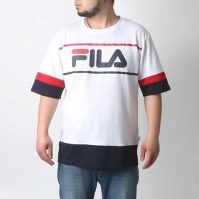 Tシャツ - MARUKAWA フィラ Tシャツ 大きいサイズ メンズ 夏 半袖 ロゴ ホワイト/ネイビー 3L/4L/5L【ブランド プリント】