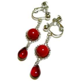 赤珊瑚と赤い琥珀のイヤリング