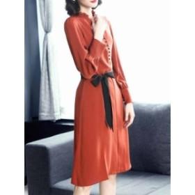 オリジナル 洗練される Vネック 長袖 蝶結び ファッション エレガントワンピース