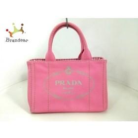 プラダ PRADA トートバッグ 美品 CANAPA ピンク×ライトグレー キャンバス  値下げ 20190422