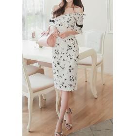 ドレス - Royal Cheaper 【AMANDA】【S.M.L.XL】五分袖サテンリボンオフショルワンピ