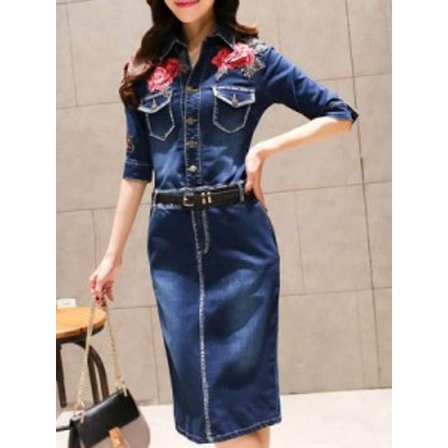 高品質 レディース ファッション POLOネック 五分袖 スリム 刺繍 デニム エレガント ワンピース