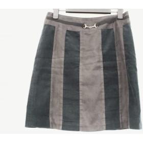 【中古】 エストネーション ESTNATION ミニスカート サイズ38 M レディース 黒 ダークグリーン