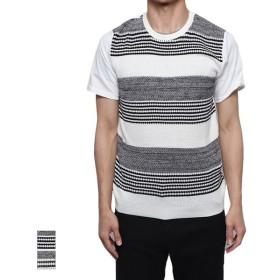 Tシャツ - Style Block MEN Tシャツ カットソー 半袖 クルーネック 丸首 半袖Tシャツ 無地 ニット切り替え 異素材 サマーニット トップス メンズ ブラックネイビー 夏先行