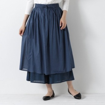 パンツ レディース クロップドパンツ スカート見えレイヤードガウチョパンツ 「ブルー」