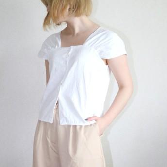 Tシャツ - LADY LIKE タックデザインタンクトップ トップス Tシャツ タンクトップ トップス 半袖 タック ショート ボタン カジュアル シンプル 着回し