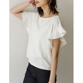 Tシャツ - Re: EDIT 一枚は持っていたい女性らしさを格上げしてくれるフリルブラウス カットジョーゼット袖フリルTシャツ トップス/カットソー・Tシャツ