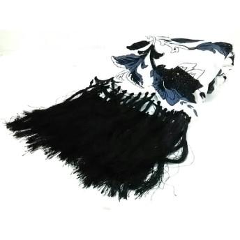 【中古】 グレースコンチネンタル ストール(ショール) 白 黒 グレー 花柄/刺繍 レーヨン コットン
