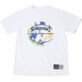 Tシャツーマーブル spalding(スポルディング) バスケットハンソデTシャツ (smt190200-whtmlt)