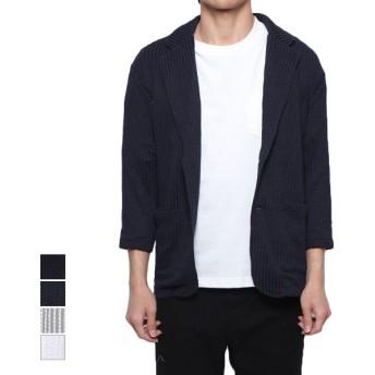 テーラードジャケット - Style Block MEN ジャケット サマージャケット サッカー素材 テーラードジャケット 7分袖 クロップドスリーブ 七分袖 薄手 ライトアウターストライプ柄 アウター メンズ ブラック ネイビー ストライプ ホワイト 夏先行