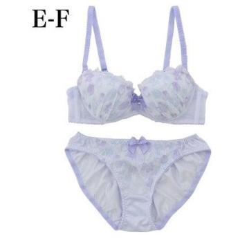 パリシェ palissee 【EFカップ】グラデーションチューリップ刺繍3/4カップブラ&ショーツ (ブルー)【返品不可商品】