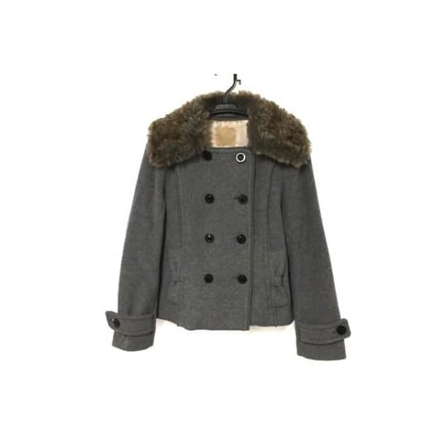 【中古】 クローラ CROLLA コート サイズ36 S レディース グレー ブラウン 冬物/フェイクファー