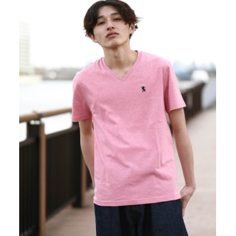 【36%OFF】 ジョルダーノ [GIORDANO]ライオン刺繍VネックTEE メンズ ピンク M 【GIORDANO】 【タイムセール開催中】