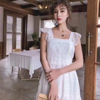 ワンピース ドレス 新作 夏 レディース ホワイト レース ハイウエスト 学生 可愛い 綺麗め 韓国 エレガント デート シック