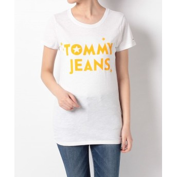 【50%OFF】 トミーヒルフィガー コットンロゴTシャツ レディース ホワイト M 【TOMMY HILFIGER】 【セール開催中】