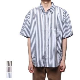 シャツ - Style Block MEN シャツ 開襟シャツ オープンカラーシャツ 半袖 ユニセックス ビッグシルエット ストライプ カジュアルシャツ トップス メンズブラック グレー ネイビー 夏先行