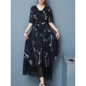 レディース ファッション シフォン ワンピースドレス 半袖 Vネック スリム プリント 夏の新しい エレガント ロング ワンピース