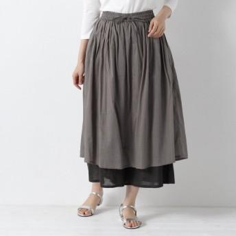 パンツ レディース クロップドパンツ スカート見えレイヤードガウチョパンツ 「グレー」