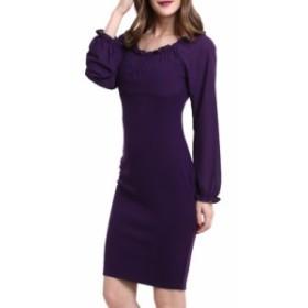 女性ファッション長袖ワンピーススリム  春秋ラウンドネック大きいサイズドレス パープル