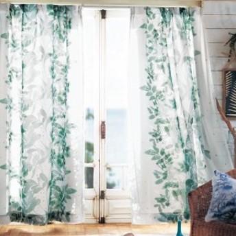 植物柄の重なりがきれいな2重カーテン