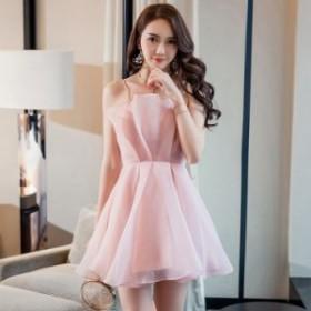 イブニングドレス パーティードレス レディース ピンク 吊りスカート ショート 綺麗め 可愛い ファッション 夏 新作 Aライン