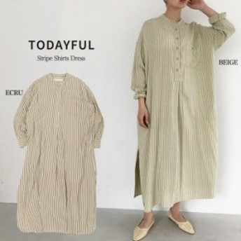 (2月上旬入荷予約)TODAYFUL 19秋冬 トゥデイフル 通販 Stripe Shirts Dress ストライプシャツドレス 11920313(代金引換不可)